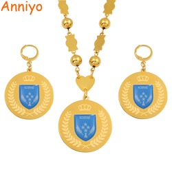 Anniyo Micronesia Kosrae Flag Jewelry sets Stainless Steel Pendant Beads Necklaces Earrings Round Ball Chain Jewellery #073821