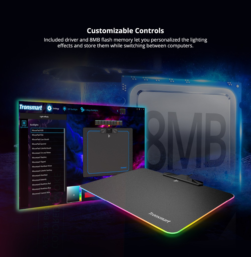 Tronsmart Shine X RGB Gaming Mouse Pad Compupter Mouse Pad Gamer USB Mat with 8MB flash memory,16.8 Million Colors,Touch Sensor 5