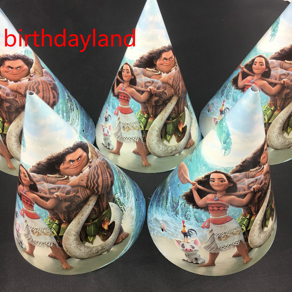 12pcs High 20cm cone Moana theme party hats for children birthday suppilies caps with string