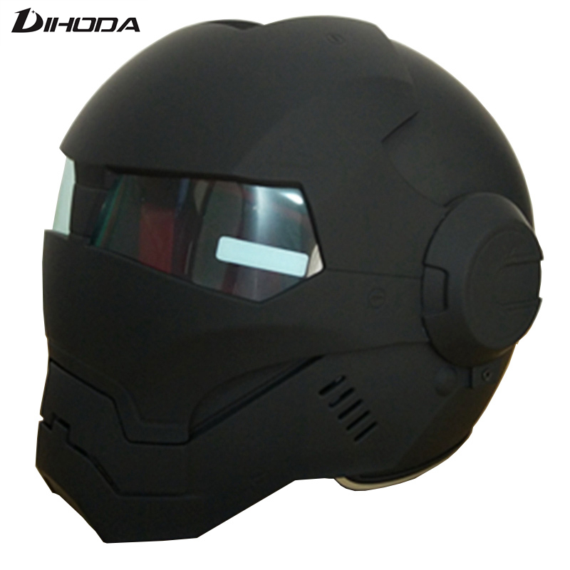 Masei 610 ABS Opaco Nero Mens womens IRONMAN Iron Man casco moto casco mezzo casco aperto del fronte del casco motocross