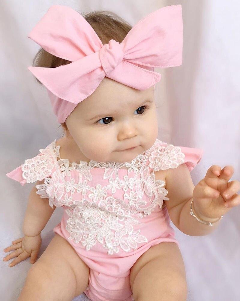 2019 Newborn Infant Baby Kids Girls Lace Lovely Floral Romper FlowerJumpsuit+Bow Headband Suit Outfits Set Sunsuit 0-18M