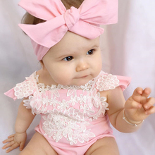 2019 Newborn Infant Baby Kids Girls Lace Lovely Floral Romper FlowerJumpsuit+Bow