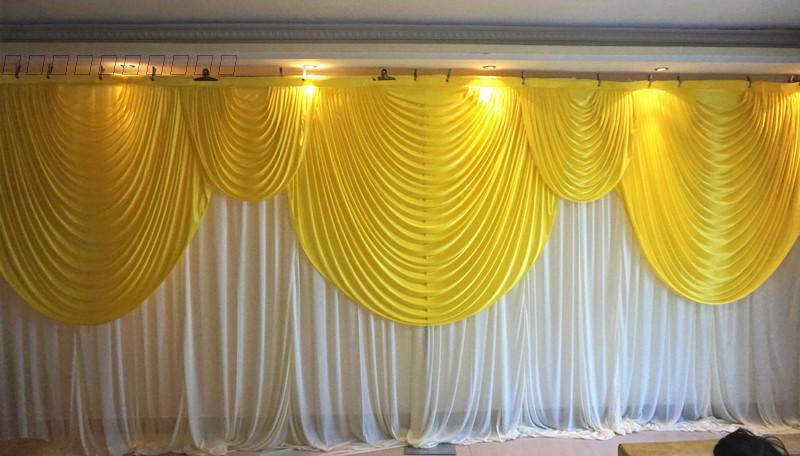 6 mt/20ft (w) x 3 mt/10ft (h) weiß Hochzeit hintergrund vorhang mit gelb girlanden hochzeit requisiten hochzeit hintergrund schleier