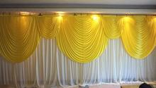 6m/20ft (w) x 3m/10ft (h) White Wedding backdrop curtain with yellow swags wedding props wedding background veil