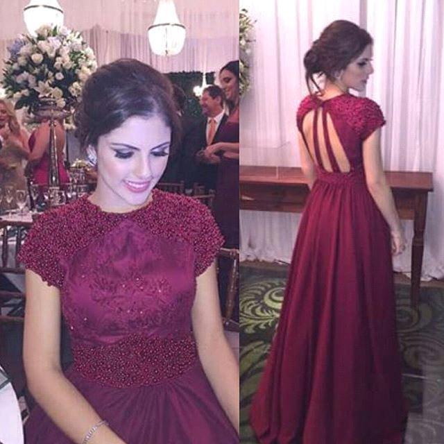 Long Prom Dress Short Sleeves