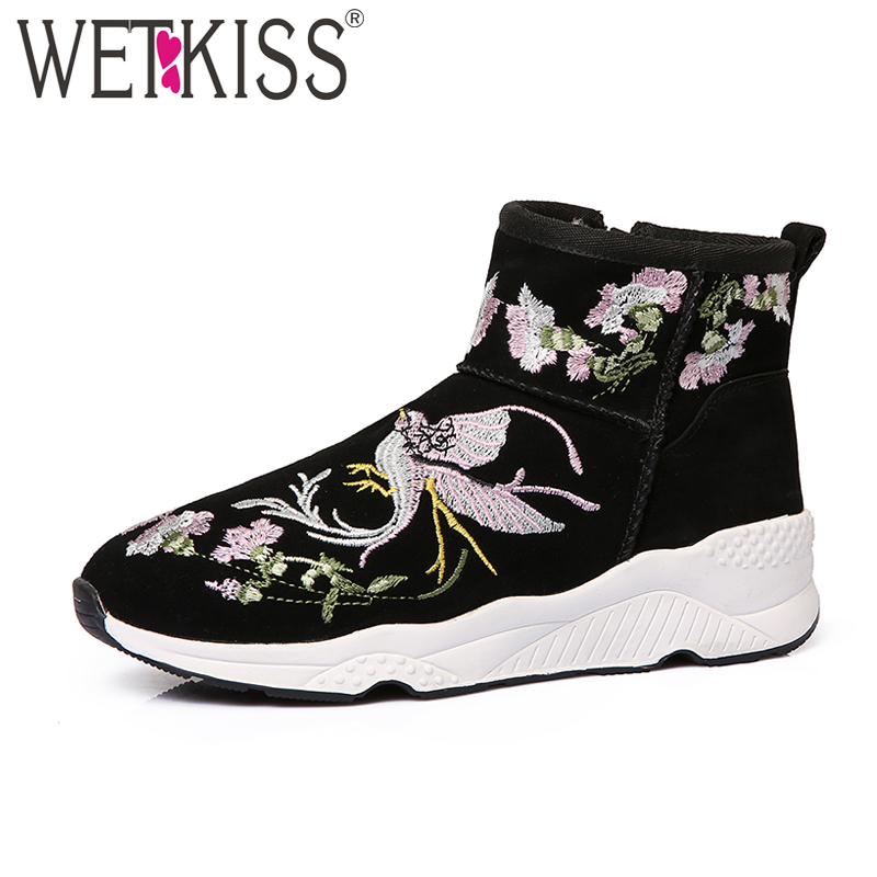 WETKISS 2018 Brand Designer Embroider Snow Boots for Women Kid Suede Plush Winter Boots Wedges Platform Shoes Woman Zipper