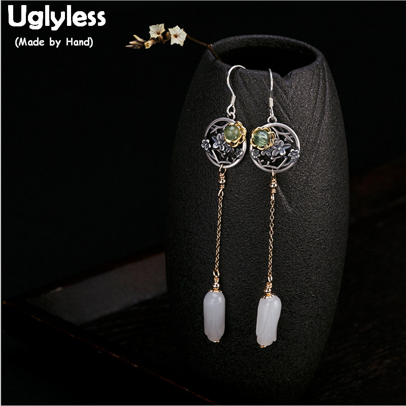 Uglyless Real S 925 Sterling Silver Flower Earrings for Women Ethnic Vintage Dangle Earrings Natural Jade Orchid Jewelry Brincos a suit of ethnic rhinestoned flower necklace and earrings for women