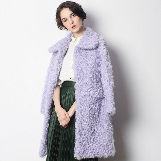 Leather suede women sheepskin coat winter women real fur coat ...