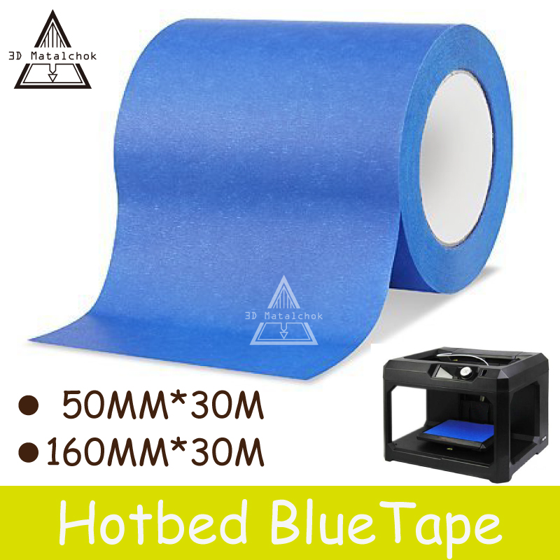 Free shipping 3D Printer Parts Blue Tape 50MM/160MM wide 30M 50MM*30M/160MM*30M Reprap bed tape,painters masking tape цены онлайн