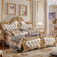 Белый спальный гарнитур низкая цена King мебель, стены кожа кровать