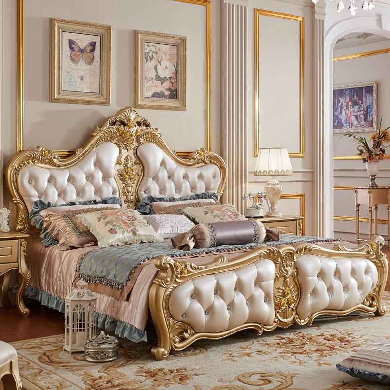 Solid Wood Modern Bedroom Furniture: Golden White ProCARE Modern Antique Italy Style King Size
