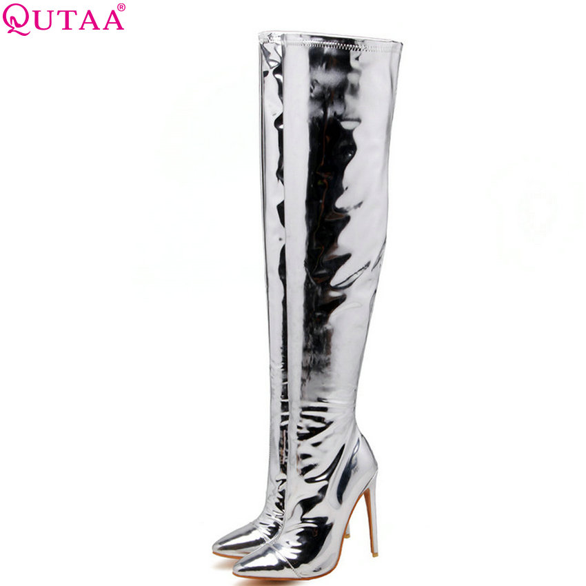 QUTAA 2019 Pu Leather Women Over The Knee High Boots Bling Sexy Club Style Winter Shoes Sliver Woman Boots Big Size 34-43 memunia big size 34 43 over the knee boots for women fashion shoes woman party pu platform boots zip high heels boots female