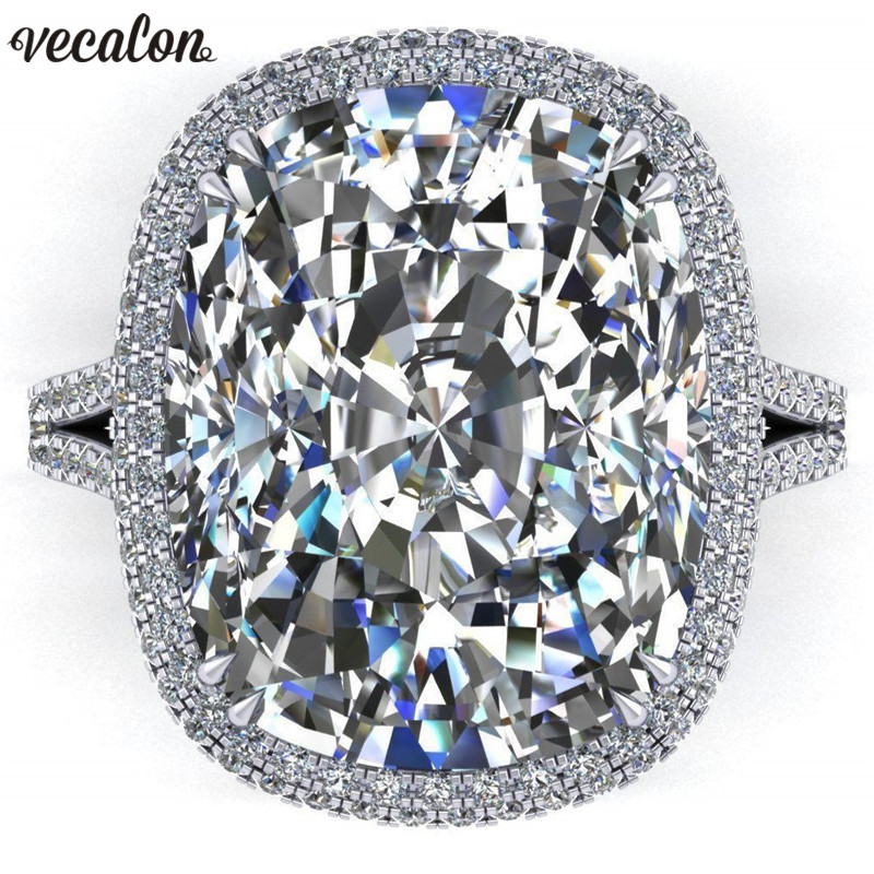 Vecalon 2019 Big Promise Ring 925 sterling silver Cushion cut 8ct Zircon Cz Engagement Wedding band rings for women Men Jewelry men wedding band cz rings jewelry silver color anillos bague aneis ringen promise couple engagement rings for women