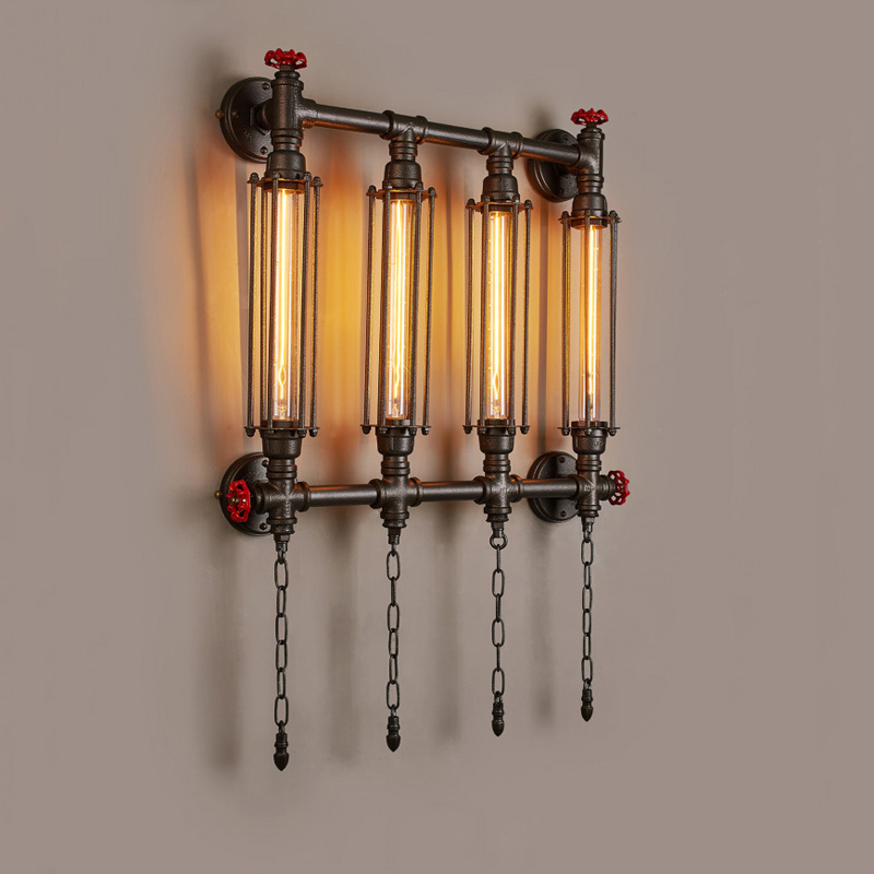 Industry wind amercian style pipe wall lamp vintage E27 light corridor aisle living room restaurant bar club pub cafe light bra ledream milan wind meal with corridor creative arts roft corridor restaurant style restaurant adornment wall lamp
