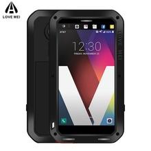 אהבת מיי מתכת מקרה עבור LG V30 בתוספת V35 V40 V50 ThinQ עמיד הלם טלפון מקרה כיסוי עבור LG G7 ThinQ מלא גוף אנטי סתיו שריון מקרה