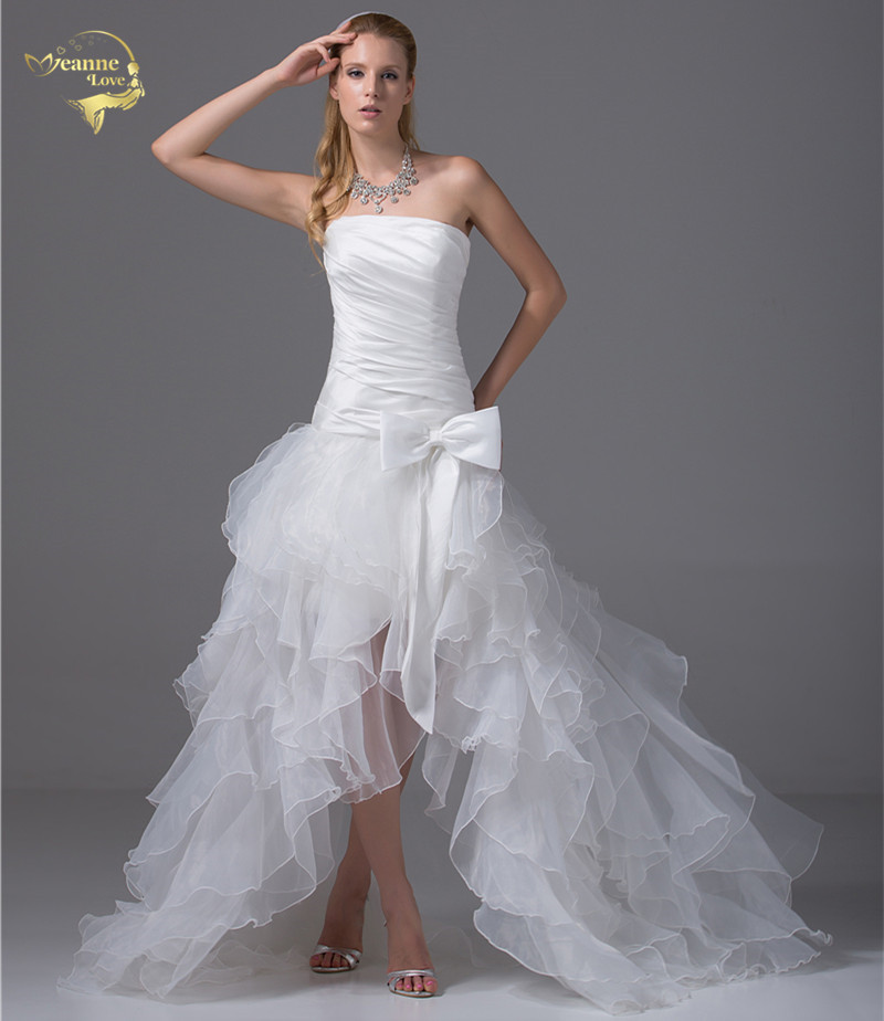 Jeanne Love 2019 New Arrival Best Selling Strapless Bridal Gowns Vestidos De Noiva Beach Short Wedding