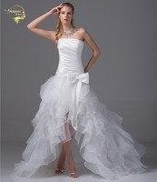 2016 New Arrival Strapless Bridal Gowns Vestidos De Noiva White Front Short Back Long Organza Short