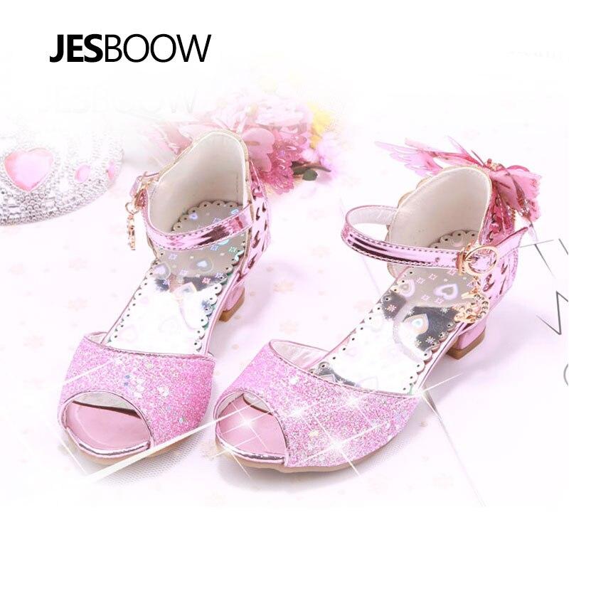 Maluch Little Girls Low Heel Sandały Cekiny Butterfly Strap Princess - Obuwie dziecięce - Zdjęcie 1
