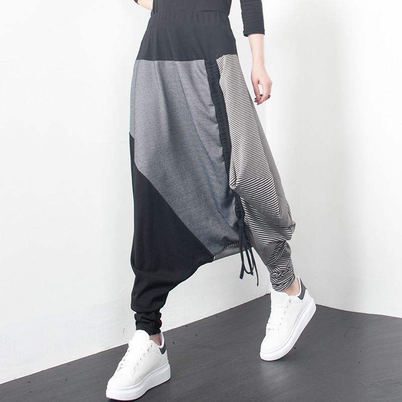 2018 personality mosaic casual   wide     leg     pants   WOMEN GIRL DrawString   pant   small feet tide