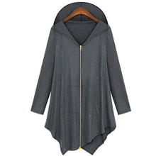 Cotton Trench Coat Women Autumn Winter Hoodied Overcoat Female Zipper irregularity Cardigans Grey/ Black Color Plus Size 4XL