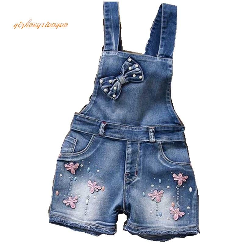 2017 gads Pavasara autu bērnu kopējais džinsu apģērbs Tīra kokvilnas ražošana Meitene 2-7 gadus veca, bērnu / zīdaiņu meiteņu krūšu bikses meitenēm dres