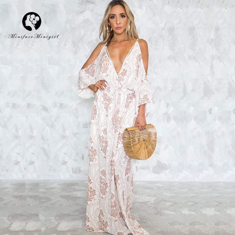 Sexy White Boho Maxi Dress Vestido Halter Flare Sleeve Women Summer Deep V Neck Loose Dress 2018 Maxi Long Beach Backless Dress