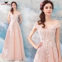QUEEN BRIDAL Evening Dresses 2018 New Design A line Cap Sleeve Lace Flowers Elegant Formal Prom dresses Vestido De Festa ZX11