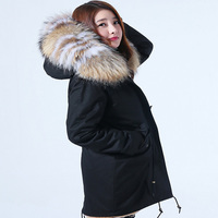brand style 2017 new winter jacket coat women natural real raccoon fur collar quality quality women thick warm parkas