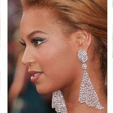 Trendy Shiny Rhinestone Long Drop Earring Women Geometric Crystal Statement Earrings Ladies Wedding Bridal Jewelry