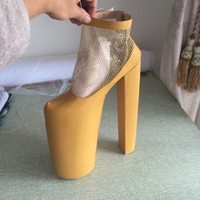 Light Brown 14 inch Heel 10 inch Platform US Size 14 Women Pump Shoes Real Image Custom Color Customized Shoes Women Mesh Detail
