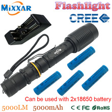 ZK30 V5 CREE XM-L T6 5000 Lúmenes LED Linterna 5-Modes linterna Ajustable adecuado dos 5000 mAh baterías Telescópica