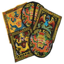 Free Ship 5Pcs/Lot No Repeat Chinese Style Embroidered Patches Dragon Birds Applique Iron On Tshirt Clothes Accessory Diy