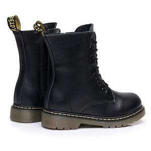 Image 3 - 高ブーツ子供の本革冬の毛皮のアンクルブーツ男の子の幼児ファッションガールズスノーブーツ子供靴