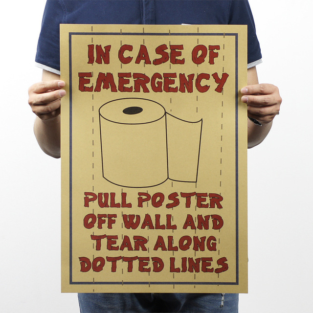 Rolls Paper Information In Case Of Emergency Wall Poster Vintage Painting Shop Public Toilet Decor Sticker