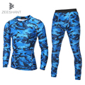 ZEESHANT New Camouflage Compression Long Sleeve T Shirt + Pants Tights Male fitness body building Suit in Men's T-Shirts