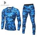 ZEESHANT Nuevo Camuflaje de Compresión de Manga Larga Camiseta + Pantalones Medias de fitness Masculino traje de construcción en hombres Camisetas