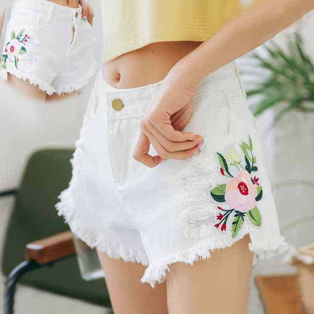 2de3221bae5 White Jean Shorts Women Clothing Summer Women Casual Shorts Mid Waist  Zipper Ripped Appliques Frayed Hem Embroidery Denim Shorts