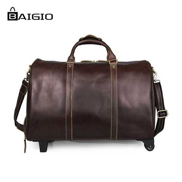 dfa2718879e7 Baigio Men s Travel Bag Leather Overnight Travel Rolling Duffle Bag Vintage Brown  Designer Hand Luggage Large Shoulder Bag