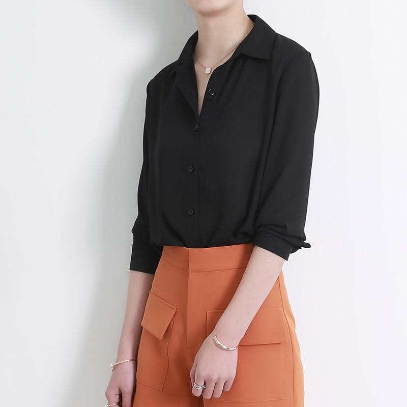 New Women s Shirt Classic Chiffon Blouse Female Plus Size Loose Long Sleeve Casual Shirts Lady