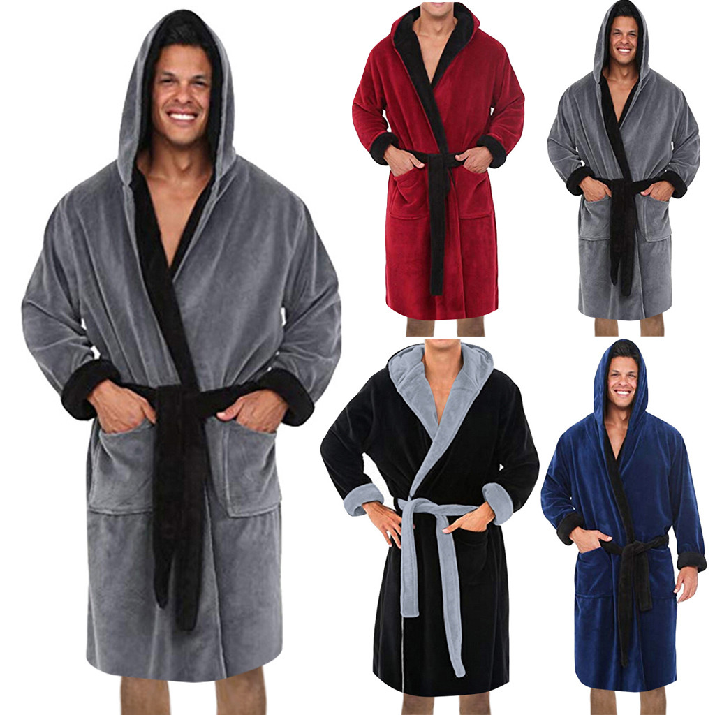 KLV Men's Winter Lengthened Plush Shawl Bathrobe Home Clothes Long Sleeve Coat bath