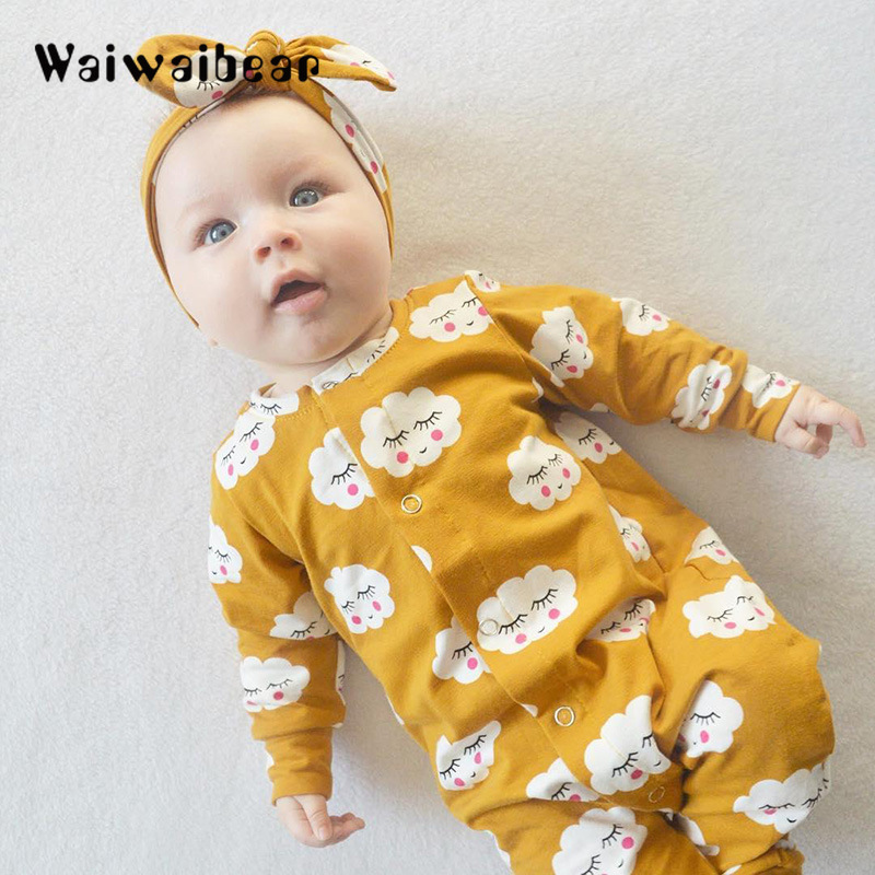 Waiwaibear Newborn Baby Rompers Boys And Girls Long-Sleeved  Cotton Toddler Clothes yyx032