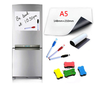 1PCS A5 Size Magnetic Whiteboard Fridge Soft Magnets Dry Wipe White Board Writing Record Marker Pen Eraser