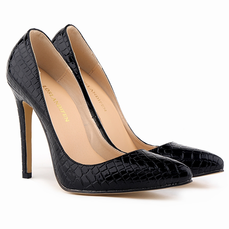 d599388232 LOSLANDIFEN Classic Sexy Pointed Toe High Heels Women Pumps Shoes Crocodile  Spring Brand Wedding Pumps Big Size 35 42 302 1EY-in Women's Pumps from  Shoes on ...