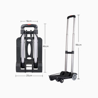 Luggage Cart 4 Wheels Folding Trolley Travel Portable Mini Trailer Household Small Pull Hand Cart