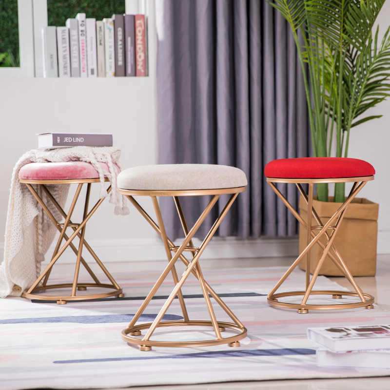 Remarkable Nordic Dressing Stool Fashion Wrought Iron Stool Fabric Change Shoe Bench Bedroom Dressing Table Chair Nail Makeup Stool Bralicious Painted Fabric Chair Ideas Braliciousco