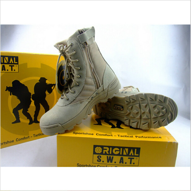 Spring And Autumn Men Leather Combat Boots Outdoor Hiking Boots Shoes Male Commando Tactics Boots  Desert Military Shoes 2017