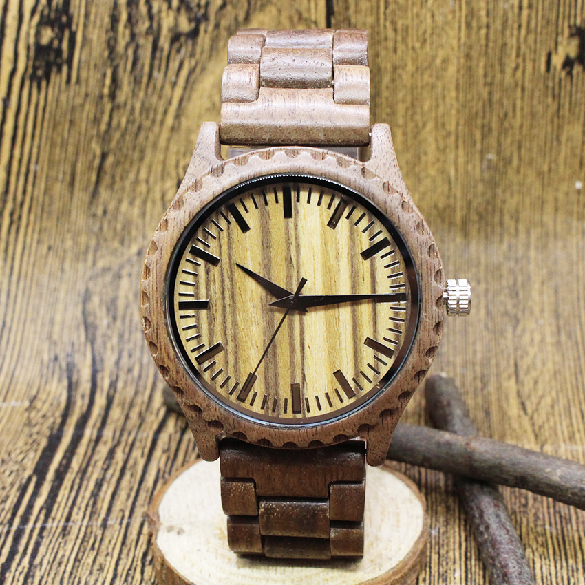 2017 TJW watch men Walnut real wood The wood grain surface high-grade business environmental wooden tannoy definition dc8 high gloss walnut