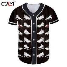 1f3f640adcb107 CJLM New Arrival Men s Tshirt With Button Cool Print Jordan 23 3d T-shirts  Man Hiphop Punk Short Sleeve Baseball Uniform Shirts