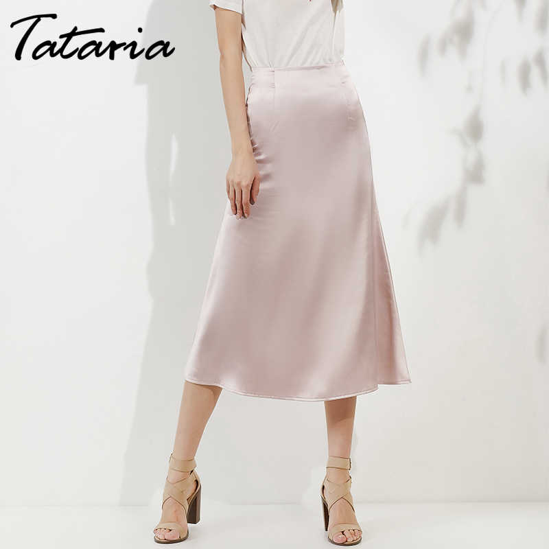 Tataria High Waisted Skirts for Women Silk Satin Skirt 2019 Women A-Line Elegant Skirts Women Women Midi Skirt New Korean Style