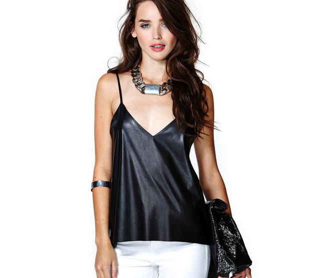 c245c7438e 2015 New Sexy Camis Women Fashion Solid Black PU Leather Patchwork Chiffon  Spaghetti Strap Camisole Lady